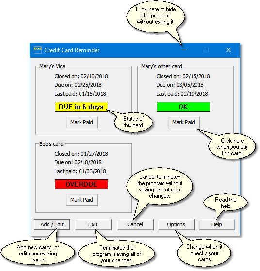 Credit Card Reminder Freeware